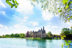Beautiful view of Bornem Castle on the river Royalty Free Stock Photos