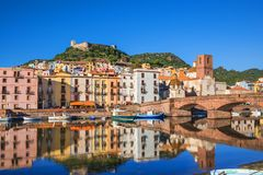 Beautiful view of Bosa town, Sardinia island, Italy. stock image