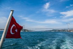 Beautiful View of Bosphorus Coastline with Flag of Turkey in Istanbul. Beautiful Scenic view of Bosphorus Coastline with Flag of Turkey in Istanbul stock photos