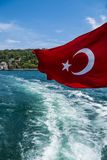 Beautiful View of Bosphorus Coastline with Flag of Turkey in Istanbul. Beautiful Scenic view of Bosphorus Coastline with Flag of Turkey in Istanbul stock photo