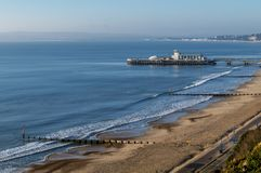 Beautiful view of Bournemouth pier and coastline, England, United Kingdom. Europe royalty free stock image