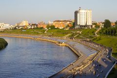 Beautiful view from the bridge on the embankment of Tyumen stock image