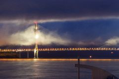 Beautiful view of the bridge with included illumination. Night view of the big cable-stayed bridge from the mainland to the island. Beautiful view of the bridge royalty free stock images