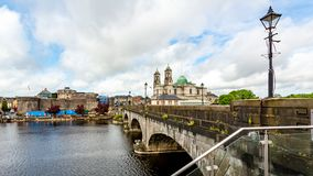 Beautiful view of the bridge over the river Shannon, the parish church of Ss. Peter and Paul and the castle in the town of Athlone. Wonderful day in the county royalty free stock image