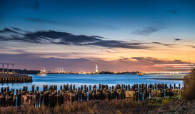 Beautiful view from Brooklyn Bridge Park at twilight time. New York City Royalty Free Stock Image
