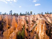Beautiful view of Bryce canyon cliffs. Classic aerial view of amazing sandstone formations at Bryce canyon cliffs Stock Photo