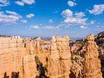 Beautiful view of Bryce canyon cliffs. Classic aerial view of amazing sandstone formations at Bryce canyon cliffs Stock Image