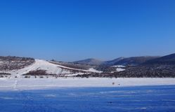 Beautiful view from Buda Mountains. In wintertime, Hungary royalty free stock images