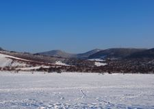Beautiful view from Buda Mountains. Hungary in wintertime stock photos