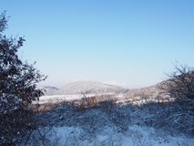 Beautiful view from Buda Mountains. In wintertime, Hungary royalty free stock photos
