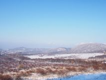 Beautiful view from Buda Mountains. In wintertime, Hungary royalty free stock image