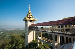 A view of buddhist temple in Mandalay, Myanmar. A beautiful view of buddhist temple in Mandalay city, Myanmar stock photography