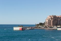 Beautiful view of buildings at the beach Monaco Stock Photography