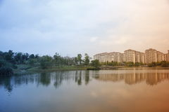 Beautiful view with buildings reflecting on the lake which near  hometown Royalty Free Stock Photography