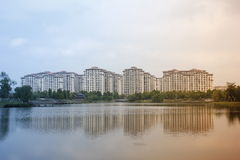 Beautiful view with buildings reflecting on the lake which near  hometown Stock Photography