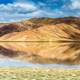 Nice view of Pamir in Tajikistan. Beautiful view of  Bulunkul Lake in Pamir in Tajikistan Stock Photo