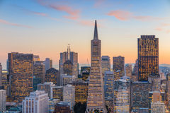 Beautiful view of  business center in downtown San Francisco Stock Images