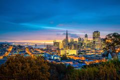 Downtown San Francisco. Beautiful view of business center in downtown San Francisco in USA at dusk Stock Photos