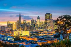 Downtown San Francisco. Beautiful view of business center in downtown San Francisco in USA at dusk Stock Photo