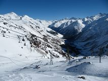 Beautiful view of the cable car and the Elbrus valley stock photography