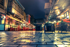 Beautiful view of cafe in Tbilisi at night Stock Image