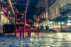 Beautiful view of cafe in Tbilisi at night Royalty Free Stock Photos