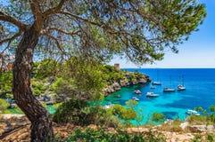 Beautiful view of Cala Pi bay Majorca Spain Mediterranean Sea Stock Photos