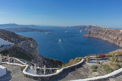 Beautiful view of Caldera with passenger cruises. Santorini, Greece. royalty free stock photo