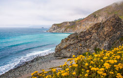 Beautiful View of the California Coastline along State Road 1. Stock Photos