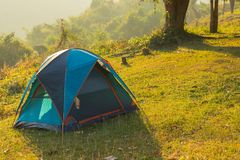 Camping point at morning, Concept Holliday. Beautiful view of Camping point at morning, Concept Holliday Stock Photo