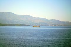 Beautiful view that can be admired at the entrance to the port of Igoumenitsa. In Greece sailing coastline landscape relaxation greek mountain forest tourism royalty free stock photography