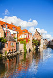 Beautiful view of a canal and , bridge, red roofs in Bruges, Bel Royalty Free Stock Photography