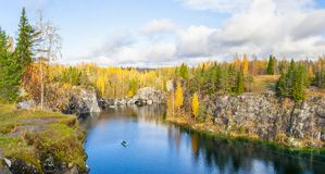 Beautiful view of a canyon in Ruskeala Stock Images