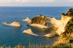 Cape Drastis in Corfu, Greece, bathed in afternoon light stock photography