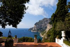 Beautiful view of Capri Island from terrace. Beautiful view of Capri Island from classical italian terrace, southern Italy Royalty Free Stock Photo
