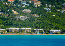 A beautiful view from the Carnival Cruise Ship. The shoreline of St Thomas U.S. Virgin Islands. Royalty Free Stock Photos