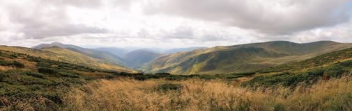 The view of the Carpathian Mountains. Dragobrat. Ukraine. Panoramic. Royalty Free Stock Images
