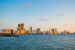 Beautiful view of Cartagena behind the ocean Stock Images