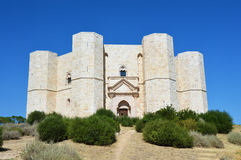 Beautiful view of Castel del Monte, the famous castle built in an octagonal shape by the Holy Roman Emperor Frederick II in the 13. Th century in Apulia, Italy Royalty Free Stock Photos