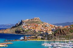 Beautiful view of Castelsardo town, Sardinia island, Italy. Popular travel destination stock photo