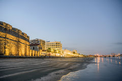 Beautiful view of the Castle and beach in Larnaka, Cyprus Stock Image