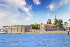 Beautiful view of the castle of Larnaca, on the island of Cyprus. On a sunny day stock photos