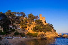 Beautiful view of Castle Sant Joan on the mountain and sea surf. Lloret De Mar, Costa Brava, Catalonia, Spain Stock Image
