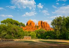 Beautiful view Cathedral Rock in Sedona mountains. Beautiful Cathedral Rock at Red Rock Royalty Free Stock Photos