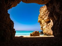 View in a cave near Sagres at the atlantic ocean Portugal Europe stock images