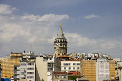 Beautiful view on the center of the European part of the Istanbul and the Galata Tower Stock Image