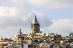 Beautiful view on the center of the European part of the Istanbul and the Galata Tower Royalty Free Stock Photography