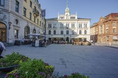 Beautiful view of central square street  on beautiful summer day. Beautiful backgrounds.Uppsala.Sweden. 06.06.2019 stock photo