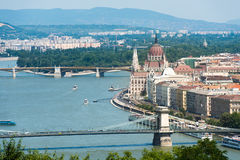 Beautiful view Chain Bridge on Danube and National Parliament Stock Photo