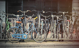 beautiful view on chain of cool bicycles on the parking Stock Photo